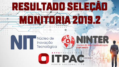 RESULTADO MONITORIA NIT E NINTER 2019/2